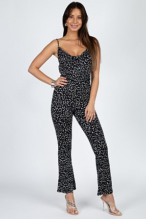 COWL NECK PRINTED JUMPSUIT