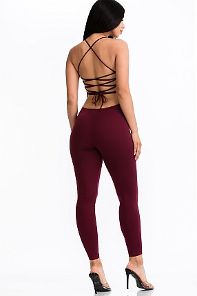 CRISS-CROSS OPEN BACK BODYCON JUMPSUIT