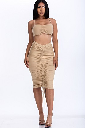 RUCHED TUBE TOP & MIDI SKIRT SETS