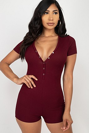 BUTTON TRIM RIBBED ROMPER