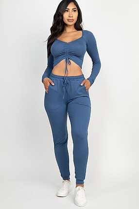 STRAP RUCHED CROP TOP AND PANTS SET