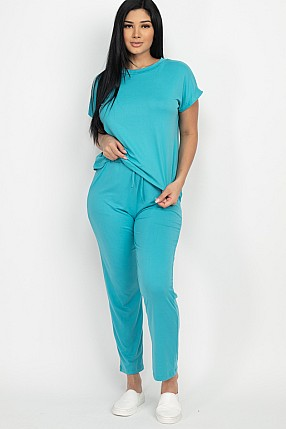 EASY WEAR SOLID TOP AND PANTS SET