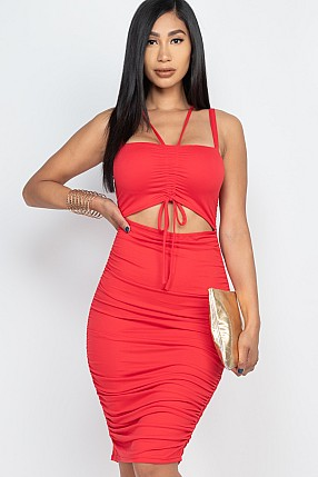 CUT OUT FRONT RUCHED BODYCON DRESS