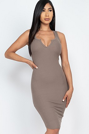 SPLIT NECK RIBBED BODYCON DRESS