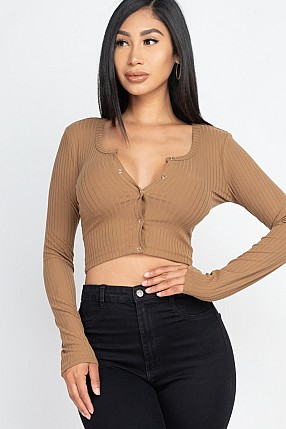 BUTTON UP RIBBED CROP TOP
