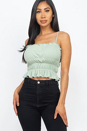 TIERED SHIRRED BODY CROP TOP